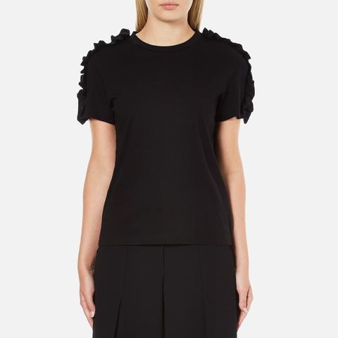MSGM Women's Frill Sleeve T-Shirt - Black