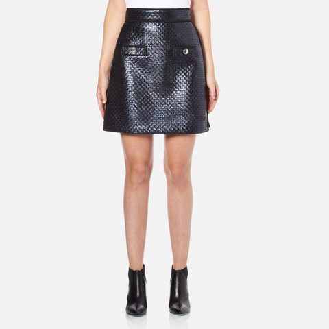 MSGM Women's Metallic Tweed Skirt - Blue