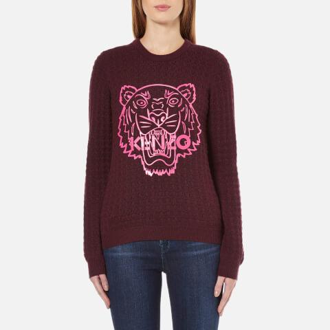 KENZO Women's Tiger Rubber Logo On Cable Knitted Jumper - Prune Melange