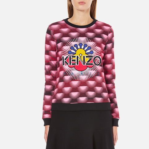 KENZO Women's All Over Print Nagai Tanami Flower Logo Sweatshirt - Red