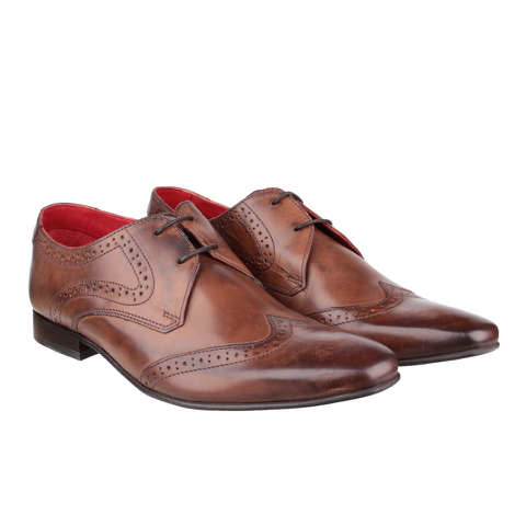 Base London Men's Sew Brogue Shoes - Brown