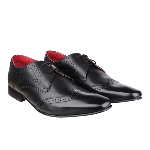 Base London Men's Sew Brogue Shoes - Black