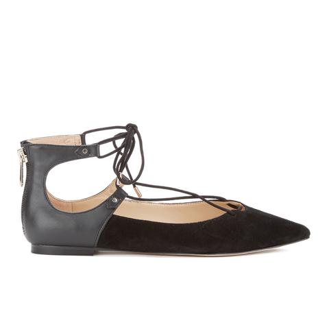 Sam Edelman Women's Rosie Suede/Leather Lace Up Flats - Black