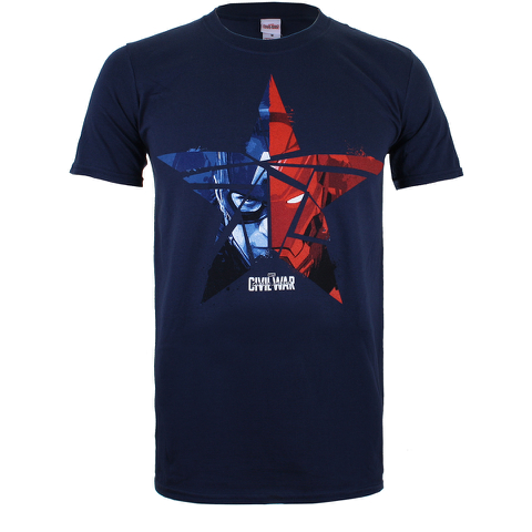 Marvel Men's Captain America Civil War Broken Star T-Shirt - Navy