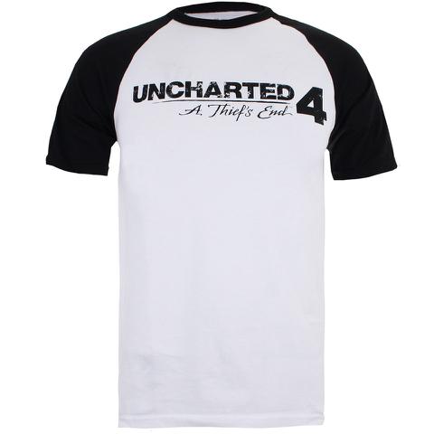Uncharted 4 Herren Logo Raglan T-Shirt - Weiss/Schwarz