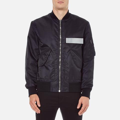 MSGM Men's Bomber Jacket with Reflective Strip - Black