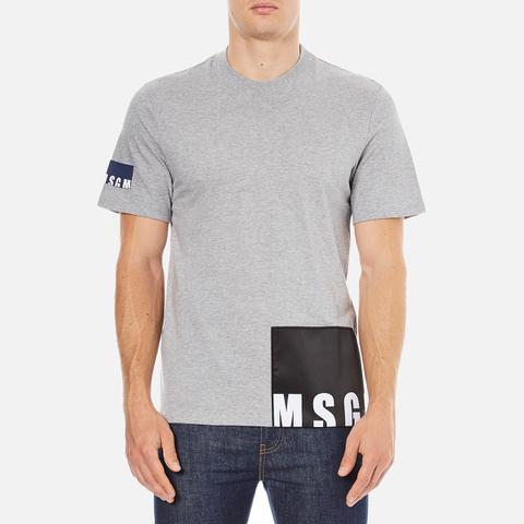 MSGM Men's Bottom Panel Logo T-Shirt - Grey