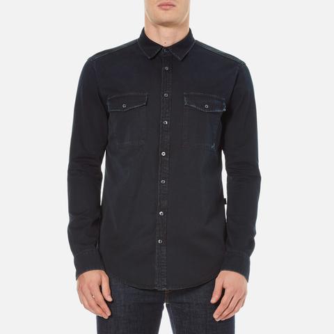 MSGM Men's MSGM Reflective Logo Back Denim Shirt - Black