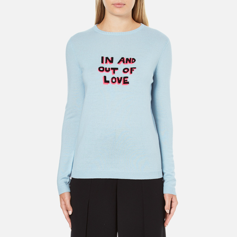 Bella Freud Women's In and Out of Love Merino Jumper - Pale Blue
