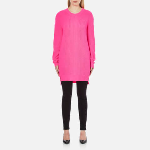 McQ Alexander McQueen Women's Chevron Crew Neck Jumper - Shocking Pink