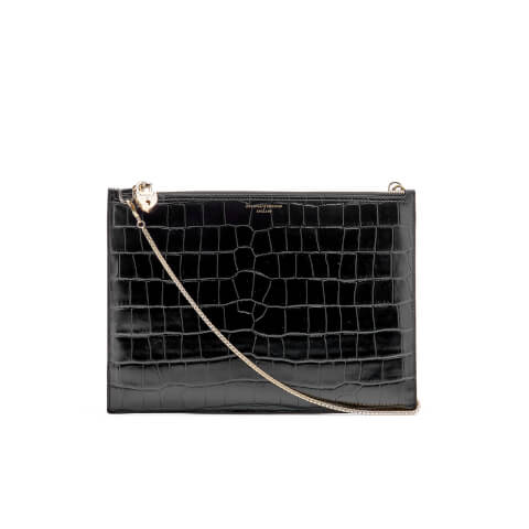 Aspinal of London Women's Soho Croc Pouch - Black Croc