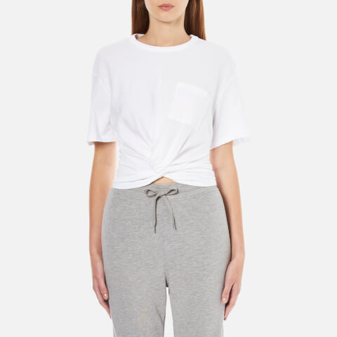 T by Alexander Wang Women's Cotton Jersey Front Twist Short Sleeve T-Shirt - White