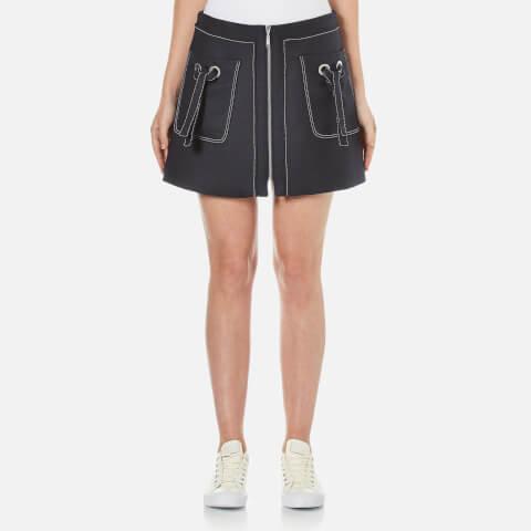 KENZO Women's Cotton Wool Blend Skirt with Pockets - Midnight Blue
