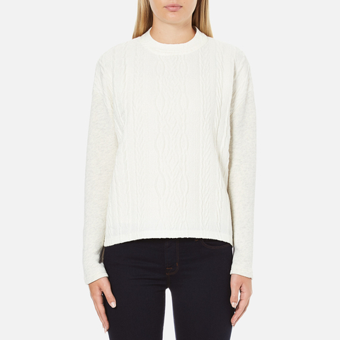 Maison Scotch Women's High Neck Sweatshirt With Special Textured Woven Front - White