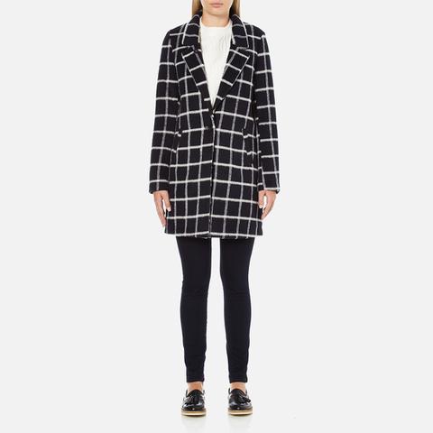Maison Scotch Women's Bonded Wool Coat In Checks & Solids - Multi