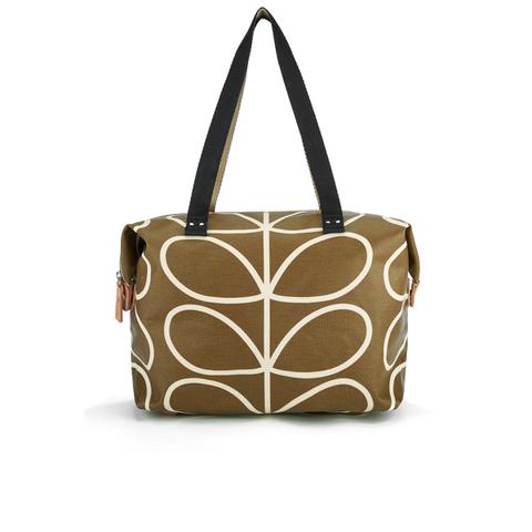 Orla Kiely Women's Linear Stem Print Zip Shopper Bag - Camel
