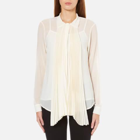 MICHAEL MICHAEL KORS Women's Pleat Neck Tie Top - Cream