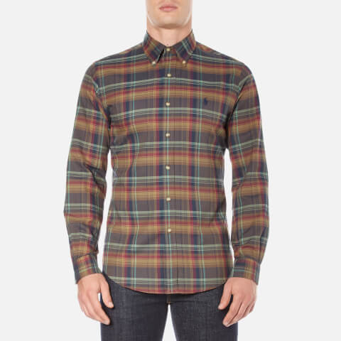 Polo Ralph Lauren Men's Long Sleeve Checked Twill Shirt - Café/Maro