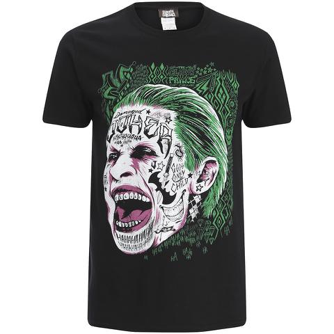 DC Comics Men's Suicide Squad Joker Head T-Shirt - Black