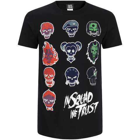 DC Comics Men's Suicide Squad Villain Skull T-Shirt - Black