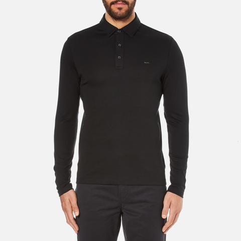 Michael Kors Men's Long Sleeve Sleek MK Polo Top - Black