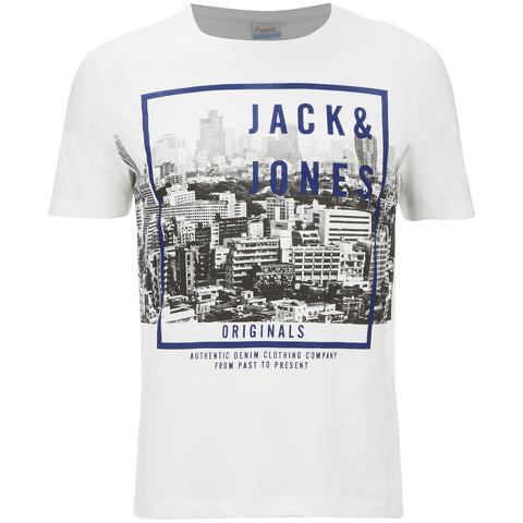 Jack & Jones Men's Originals Coffer T-Shirt - Cloud Dancer/Teal