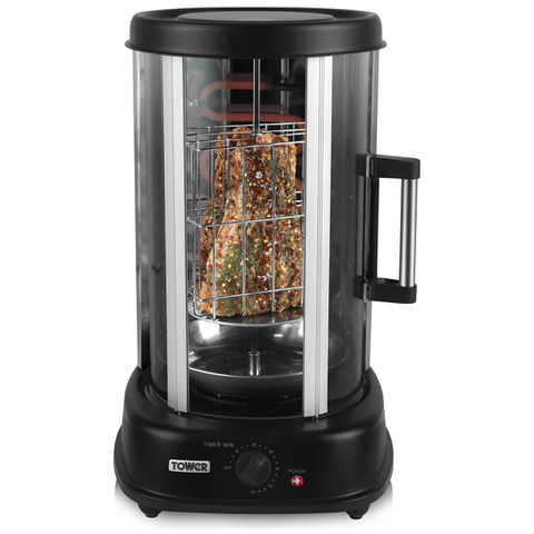 Tower Rotating Vertical Rotisserie Grill with Fish Basket - Black