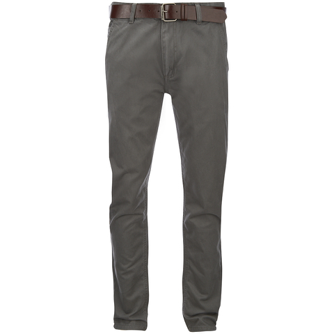 Smith & Jones Men's Ashlar Belted Slim Fit Chinos - Charcoal Twill