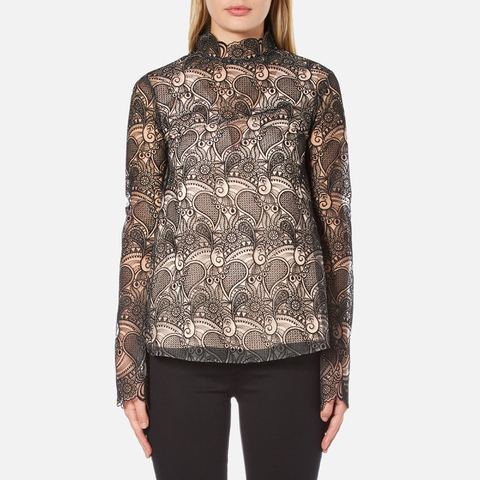 Perseverance Women's Embroidered Paisley Top Bell Sleeves And High Neck Collar - Black/Nude
