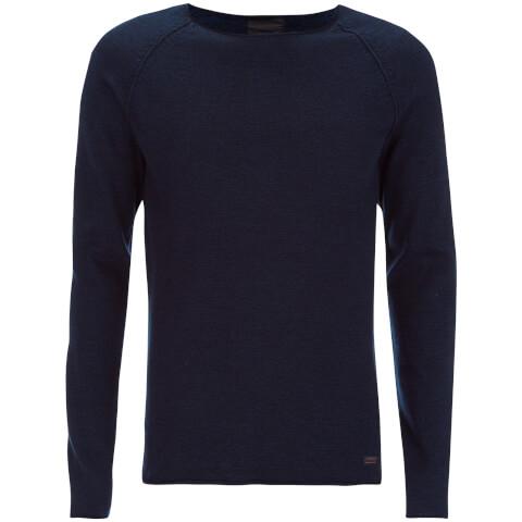 Produkt Men's Twist Knit Crew Neck Jumper - Dress Blue