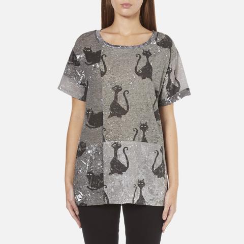 Marc Jacobs Women's Skater Patchwork Cat T-Shirt - Grey/Multi