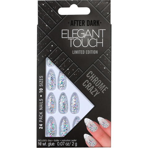 Elegant Touch Trend After Dark Nails - Holographic Clear Stiletto/Chrome Crazy