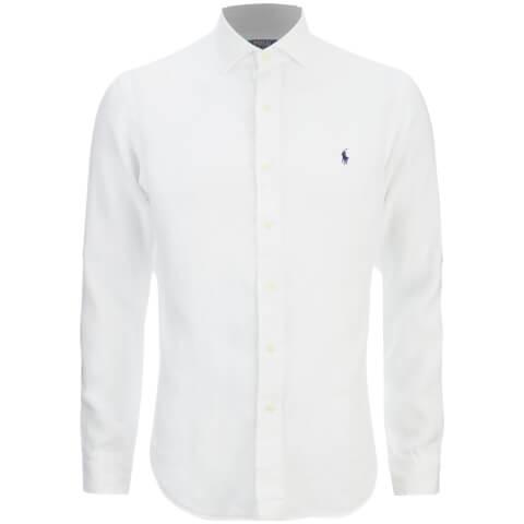 Polo Ralph Lauren Men's Slim Fit Long Sleeve Linen Shirt - White