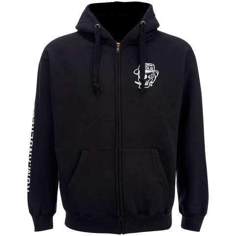 Rum Knuckles Men's Smokin Skull Zip Through Hoody - Black