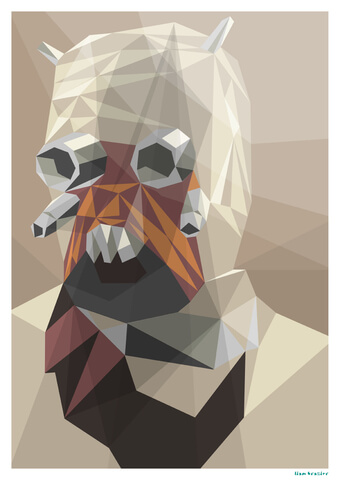 Star Wars Tuscan Raider Inspired Geometric Art Print - 16.5