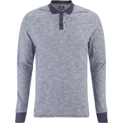 Threadbare Men's Cleethorpes Long Sleeve Polo Shirt - Navy