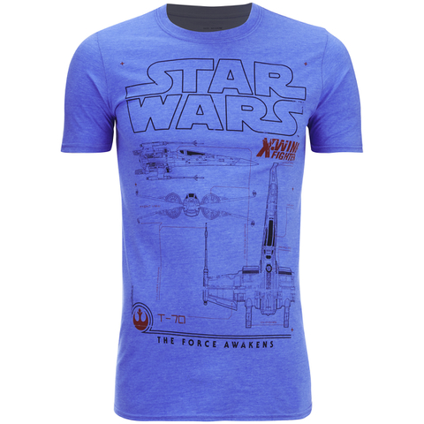 Star Wars Men's X-Wing Schematic T-Shirt - Heather Royal