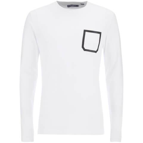 Brave Soul Men's Activist Tape Pocket Long Sleeve T-Shirt - White