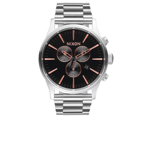 Nixon The Sentry Chrono Watch - Grey/Rose Gold