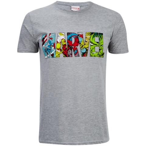 Marvel Men's Comic Strip Logo T-Shirt - Sports Grey