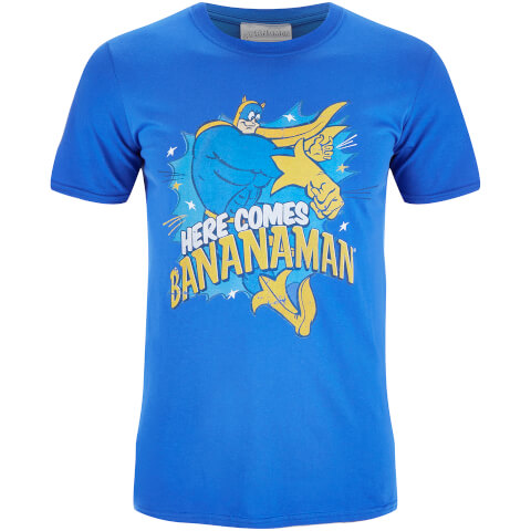 Bananaman Mens Here Comes Bananaman T-Shirt - Blue