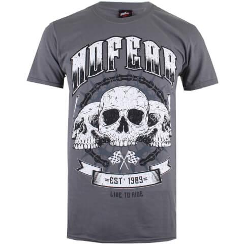 No Fear Men's Skull Chain T-Shirt - Charcoal