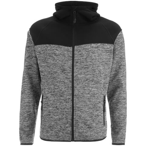 Dissident Men's Crestfield Zip Through Bonded Fleece Hoody - Black/Grey