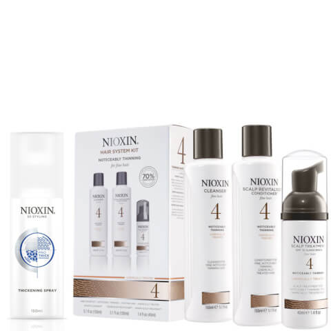 NIOXIN Hair System Kit 4 and Thickening Spray Bundle