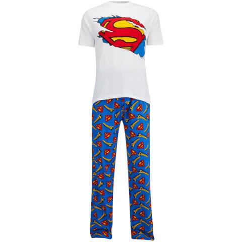 DC Comics Men's Superman Pyjama Set - White