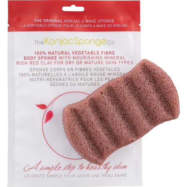 Esponja de baño con 6 ondas y arcilla roja de The Konjac Sponge Company