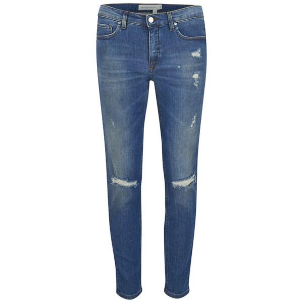 Victoria Beckham Women's Ankle Slim Jeans - Mid Stone