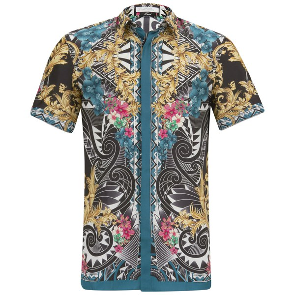 Versace Collection Men S Short Sleeve Silk Fantasia Shirt