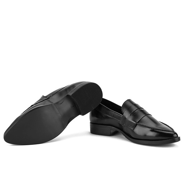 Steve Madden Women's Lindie Pointed Leather Penny Loafers - Black: Image 51