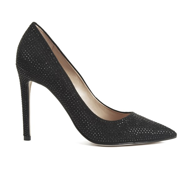 Steve Madden Women's Pizazz Multi Rhinestone Pointed Court Shoes - Black